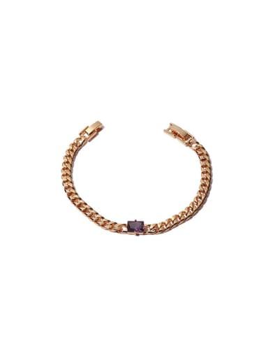 Purple zirconium Bracelet Brass Cubic Zirconia Geometric Hip Hop Necklace