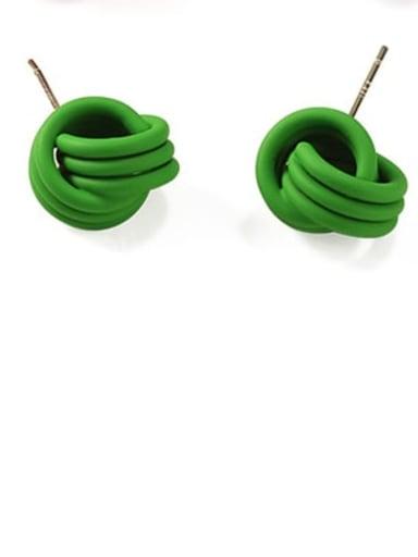 green Brass Enamel Geometric Cute Stud Earring
