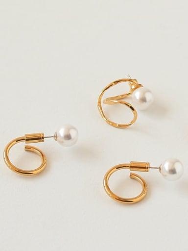Brass Imitation Pearl Irregular Vintage Drop Earring