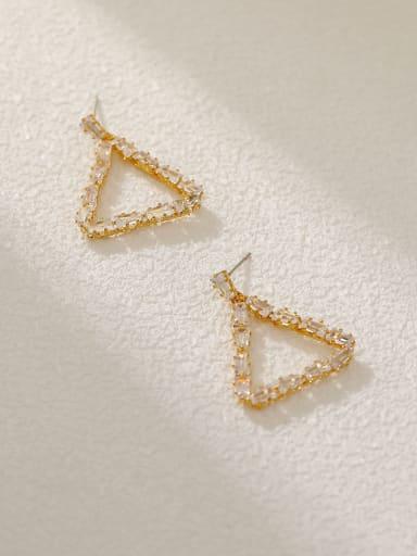 Brass Cubic Zirconia Triangle Vintage Drop Earring