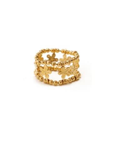 Brass Flower Hip Hop Stackable Ring
