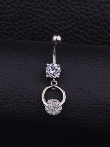 Section D (Single) Stainless steel Cubic Zirconia Flower Hip Hop Belly studs & Belly Bars