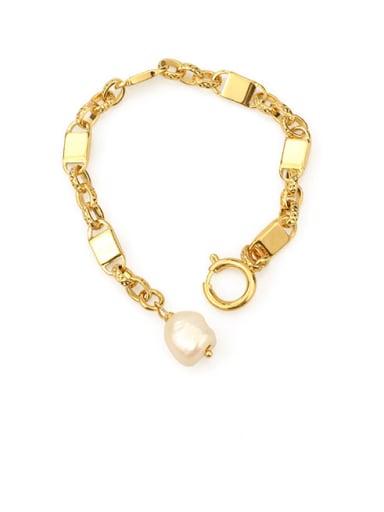 Brass Freshwater Pearl Geometric Chain Vintage Bracelet