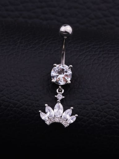 Section C  (Single) Titanium Steel Cubic Zirconia Flower Hip Hop Belly Rings & Belly Bars