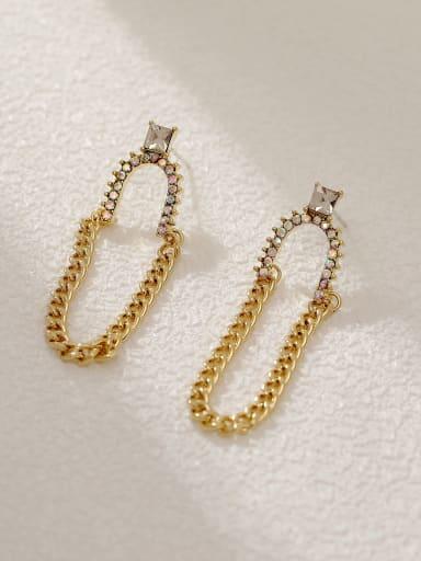 Brass Geometric Vintage Threader Earring