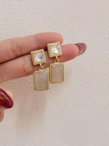 14K gold +pink Brass Resin Geometric Vintage Drop Earring