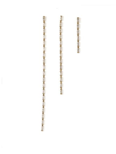 Bronze Cubic Zirconia Tassel Minimalist Threader Earring