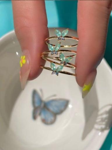 Green zirconium butterfly (Meigui No. 7) Brass Cubic Zirconia Multi Color Irregular Cute Stackable Ring