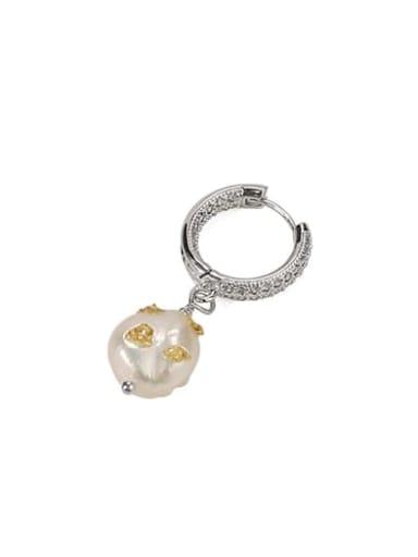 Platinum Brass Freshwater Pearl Geometric Vintage Huggie Earring