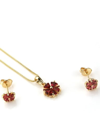 Gold Plated Red Brass Dainty Clover Cubic Zirconia Earring and Necklace Set