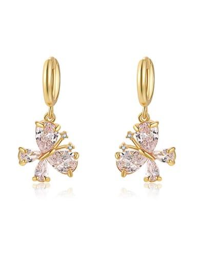 white Brass Cubic Zirconia Multi Color Butterfly Minimalist Huggie Earring