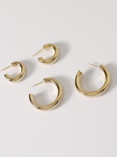 Brass Smooth Geometric Minimalist Hoop Earring