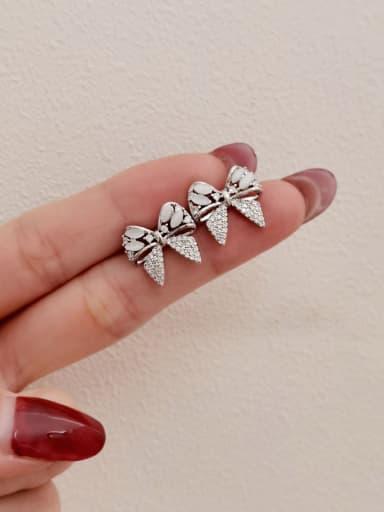 White K Brass Cubic Zirconia Butterfly Vintage Stud Earring