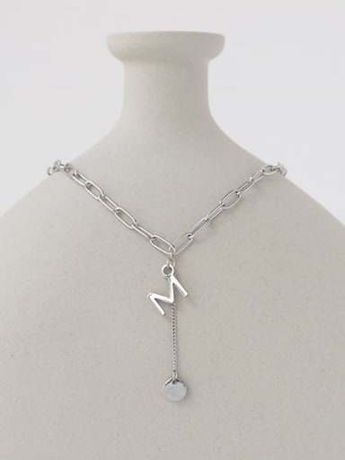 Titanium Steel Letter Minimalist Hollow Chain Necklace