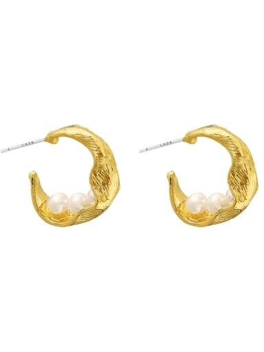 Brass  Freshwater Pearl Geometric Vintage Hoop Earring