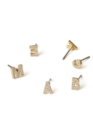 Brass Cubic Zirconia Letter Minimalist Stud Earring