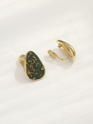 Brass Enamel Geometric Bohemia Clip Earring