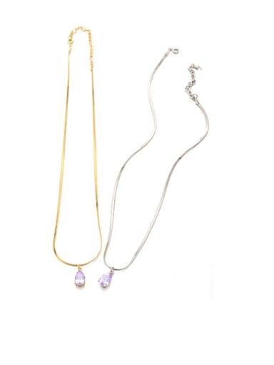golden Brass Crystal Water Drop Minimalist Necklace