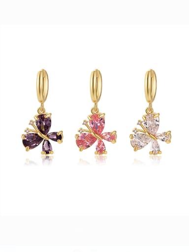 Brass Cubic Zirconia Multi Color Butterfly Minimalist Huggie Earring