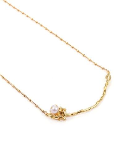 Brass Imitation Pearl Flower Hip Hop Necklace