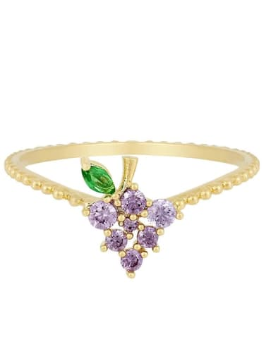 Grape Brass Cubic Zirconia Multi Color Friut Cute Band Ring