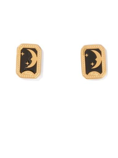 Titanium Steel Enamel Geometric Vintage Stud Earring