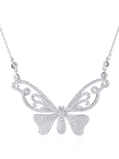 white Brass Cubic Zirconia Butterfly Minimalist Necklace