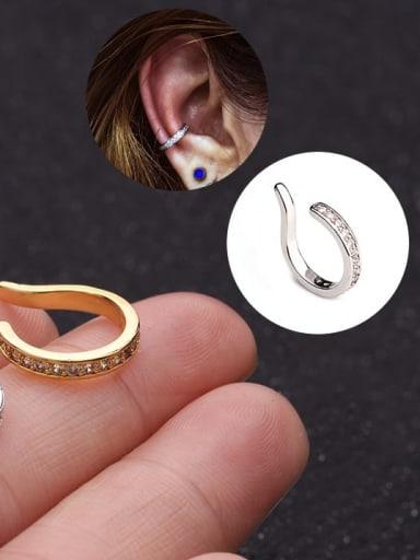 Brass Cubic Zirconia Geometric Minimalist Clip Earring (Single)