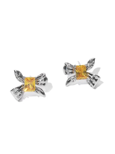 Brass Cubic Zirconia Bowknot Minimalist Stud Earring