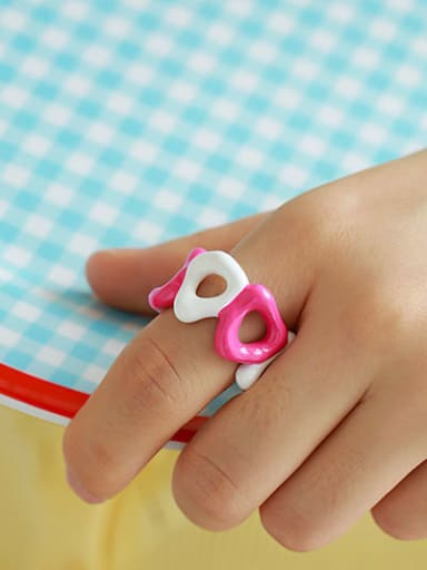 Pink and white contrast Brass Enamel Geometric Hip Hop Band Ring
