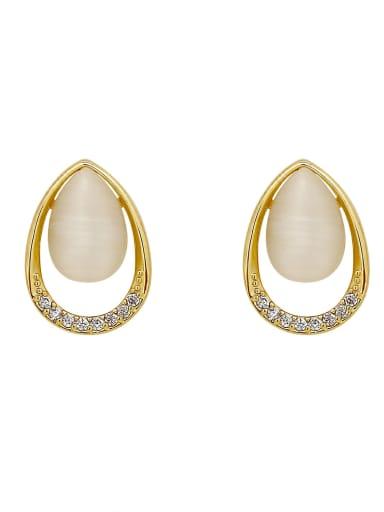 Brass Cats Eye Water Drop Minimalist Stud Earring