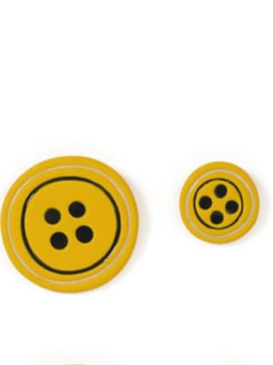 Yellow Earrings Alloy Enamel Geometric Cute  Candy color asymmetry Buttons Stud Earring