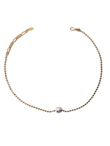 Gold Brass Ceramic Round Hip Hop Beaded Chain Necklace