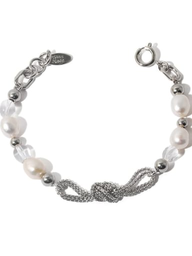 Brass Freshwater Pearl Geometric Hip Hop Beaded Bracelet