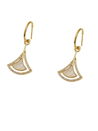 Brass Shell Triangle Minimalist Hook Earring