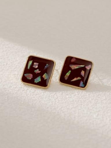 claret Brass Shell Enamel Square Vintage Stud Earring