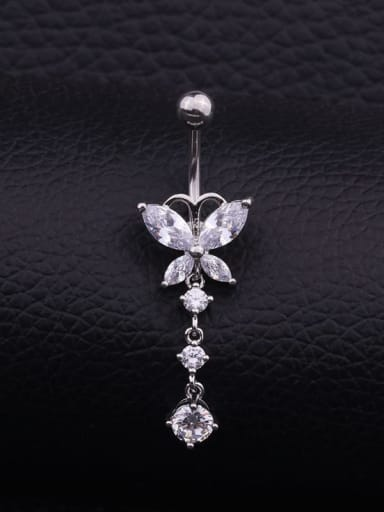 Section D (Single) Stainless steel Cubic Zirconia Water Drop Hip Hop Belly Rings & Belly Bars