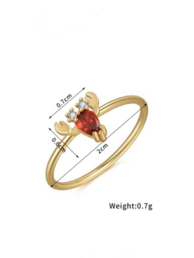 Lobster Brass Cubic Zirconia Multi Color Irregular Cute Band Ring