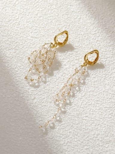 14k Gold White Brass Crystal Tassel Minimalist Threader Earring