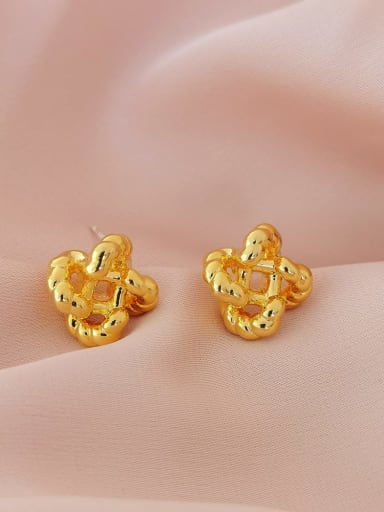 Brass Hollow Clover Minimalist Stud Earring