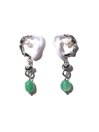Green natural stone Brass Enamel Irregular Vintage Chandelier Earring