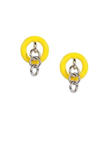 Brass Enamel Geometric Minimalist Chandelier Earring