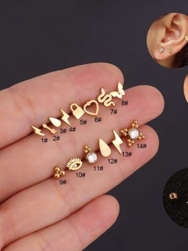 Brass with Cubic Zirconia White Irregular Minimalist Stud Earring(single)