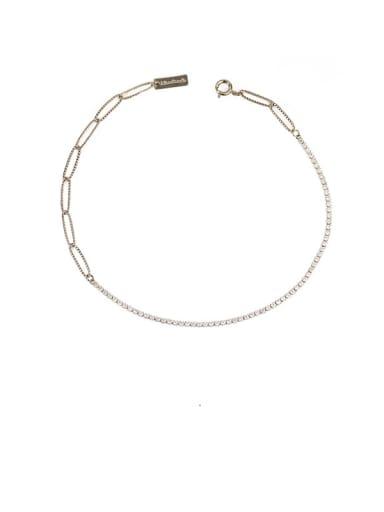 Coffee gold necklace Brass Imitation Pearl Geometric Chain Minimalist Necklace