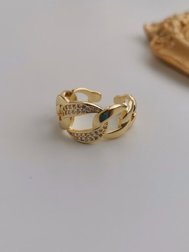 Copper  Retro Hollow Geometric Free Size Band Ring