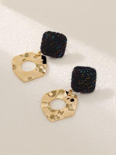 14k Gold +Black Brass Leather Geometric Vintage Drop Earring