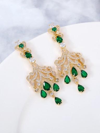 green Brass Cubic Zirconia Multi Color Water Drop Statement Drop Earring