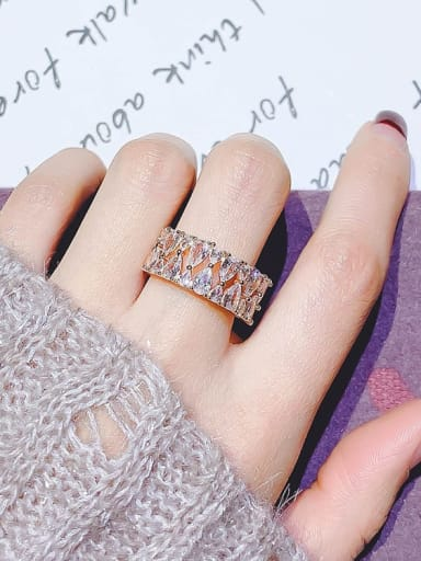 rose gold.Water Alloy Cubic Zirconia White Geometric Trend Band Ring/Free Size Ring