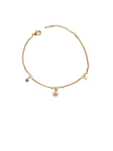 Star Sequin star zircon Brass Cubic Zirconia Star Minimalist Link Bracelet