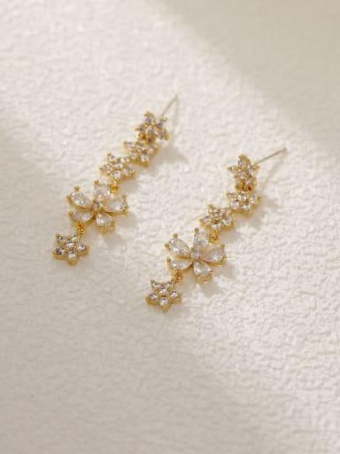 Brass Cubic Zirconia Star Dainty Drop Earring
